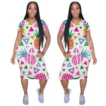 0051811 Casual Fashion Fruit Pattern O-Neck Short Sleeve Ladies Casual Dress Summer Drawstring Midi Print Dress