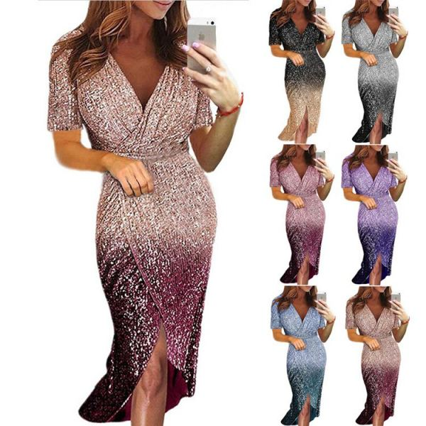 0051514 Best Seller Short Sleeve Summer Gradient Color Midi Fashion Dresses Sequined V-Neck Stylish Women Party Dress