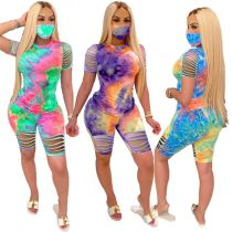0060514 Good Quality Tie Dye Print Round Neck Fashion Casual Short 2 Piece Set Women Clothing Burnt Out Outfits Two Piece Set