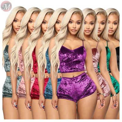 0050719 Hot onsale 2020 Summer sexy bare midriff velvet lacework 2 Pcs Track Suit Outfits Two Piece Shorts Set Women Clothing