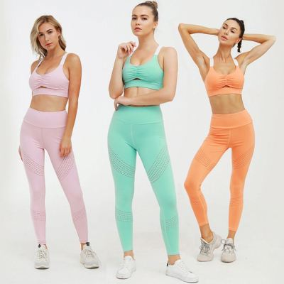 0051520 Good Quality Sweat Color Breathable Buttock Lefting Fitness Tracksuits Burnt Out Exercise Yoga Suit Womens Two Piece Set