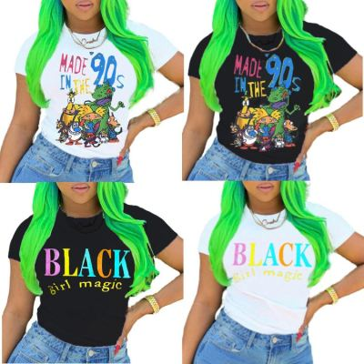 0060223 Fashion Casual Letter Cartoon Print Design Short Sleeve Round Neckline Tops Women Summer T-Shirts