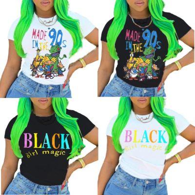 0060223 Fashion Casual Letter Cartoon Print Design Short Sleeve Round Neckline Tops Women Summer T-Shirts