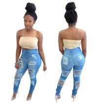 0060218 Casual Fashion Summer Ladies Sexy Denim High Waisted Long Skinny Women Pencil Pants Ripped Blue Jeans For Women