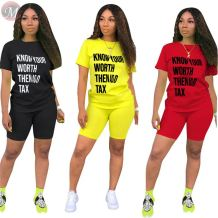 0050711 Hot selling Summer fashion casual sweat suit letter print 2 Pcs Track Suit Outfits Two Piece short Set Women Clothing