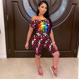 Q060515-2 Camouflage Off Shoulder Women Mouth Print 2 Pcs Track Suit Outfits Two Piece Short Set