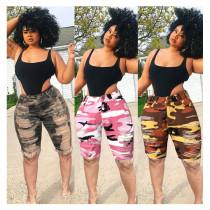 0060230 Wholesale Fashion 2020 Summer Camouflage Elastic Denim Pants Women Rough Selvedge Bottoms Ladies Trousers Ripped Jeans