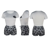 Q060512-2 Women Casual Mouth Print Striped 2 Pcs Track Suit Outfits Two Piece Short Set