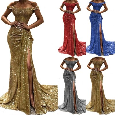 0051511 Wholesale Solid Fashion Off Shoulder Short Sleeve Sexy Long Dresses Pleated High Slit Sequin Maxi Evening Party Dresses