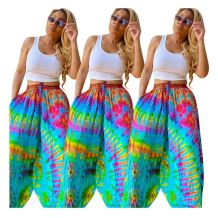 0060122 Casual Summer Comfort Leisure Loose Pants Women Pockets Colorful Printed Long Wide Leg Pants