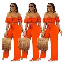 0060123 Latest Design Solid Color Simple Fashion Summer Off Shoulder Short Sleeve Wide Leg Long Women One Piece Jumpsuit