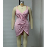 0060102 Wholesale Fashion Solid Color Spaghetti Strap Fat Ladies Plus Size Dress Summer Pleated Casual Mini Dress