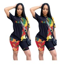 0060113 Good Quality Colorful Floral Print Patchwork Round Neckline Short Sleeve 2 Piece Set Women Clothing Letter Sports Set