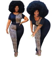 0060106 Fashion Casual Leopard Print Patchwork Round Neck Short Sleeve 2 Piece Set Women Plus Size Two Piece Set