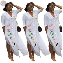 0061114 Newest Design White Long Maxi Shirt Women Dresses Summer Letter Print Button Down Slit Wholesale Casual Dress