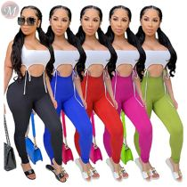 0061127 Wholesale Fashion Contrast Color Bandage Summer Jumpsuits Sleeveless Solid Hollow Out Women Custom Fitness Jumpsuit