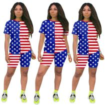 0060421 Design Fashion Summer Casual 2020 Women Two Piece Set Flag Printed Outfits Leisure Wear T-Shirt 2 Piece Outfit