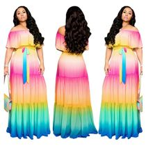 0060522 2020 Summer Best design off the shoulder ruffles splice colorful Lady Elegant Sexy Clothes Women long maxi dresses