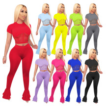 0060316 Good Quality Mesh Spliced Shaper Top Flared Pants Women Two Piece Set Clothing Summer Solid Sports Track Suit Outfits