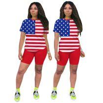 0060420 Fashion Casual Popular Flag Print Tshirt Sexy Casual Summer 2 Piece Set Women Shorts Set Sports Wear Two Piece