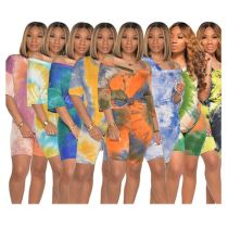 0060416 Newest Design V Neck Tie Dye Short Sleeve T-Shirt Casual Summer Multi Color Sports Womens Two Piece Shorts Set
