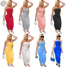0061118 Fashion Casual Simple Basic Strapless Sexy Dresses Summer Women Tube Stretch Maxi Solid Color Bandage Dresses