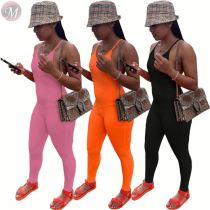 0061105 New Summer Backless Spaghetti Strap Jumpsuits Casual Solid Color Slimming Long One Piece Women Jumpsuits And Rompers