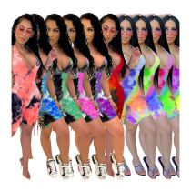 0060504 Summer 2020 Wholesale ladies Sexy deep v neck tie-dye halter backless bodycon Women One Piece Short Jumpsuit And Rompers