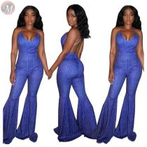 0061106 Hot Onsale Sexy Backless Striped Suspender Jumpsuit Women Full Length Flared Pant Bodycon Ladies Fashion Jumpsuit
