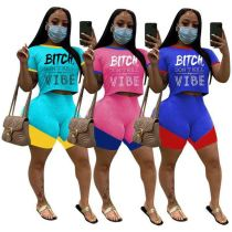 0060509 Casual New style 2020 Summer letter print splice sports suit 2 Pcs TrackSuit Outfits Two Piece Shorts Set Women Clothing