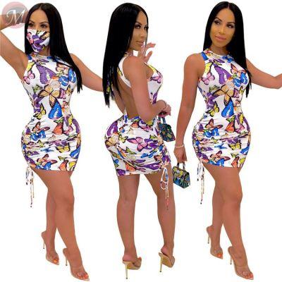 0061126 New Casual Halter Open Back Butterfly Print Girls' Dresses Women Sleeveless Lady Elegant Drawstring Pleated Mini Dress
