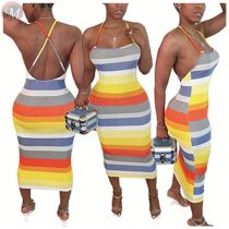 0061123 Fashionable Cross Stripe Printed Suspender Backless Clothes Sexy Women Dress Summer Hot Sale Midi Long Dress