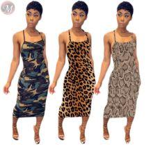 0061116 Wholesale Price Summer Backless Camo Leopard Snakeskin Dresses Women Lady Elegant Suspender Casual Long Midi Dresses
