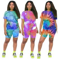 0060517 Casual fashion High quality summer tie-dye sports suit 2 Pcs Track Suit Outfits Two Piece Shorts Set Women Clothing