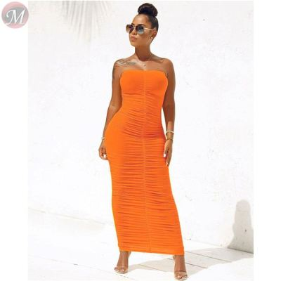 0061134 New Stylish Soli Color Strapless Slimming Tight Bandage Women Dresses Sexy Summer Pleated Stretched Candy Color Dresses