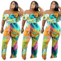 0060405 New Off The Shoulder Bohemian Floral Print Summer Sexy Jumpsuit Long Straight Pant Casual Women One Piece Jumpsuit
