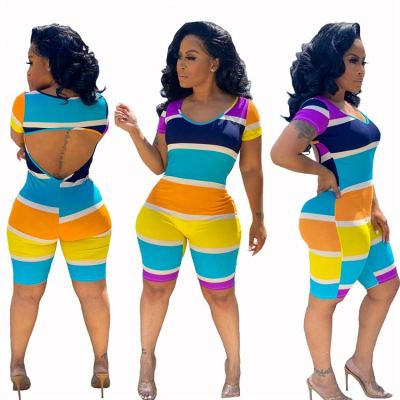 0060410 Wholesale Fashion Color Block Printed Short Sleeve Open Back Sexy Jumpsuit 2020 Women Casual Summer Jumpsuit Romper