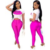 0051902 Hot Onsale White Lip Letter Tshirt Multi Color Pants Two Piece Set Women Clothing Fashion Summer 2 Piece Set