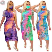 0061119 Design Fashion Tie Dye Print Burnt Out Holes Lady Dresses Women Summer Short Sleeve Trendy Casual Midi Dresses