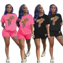 0060419 Wholesale Price Dollar Print Fashion Casual Pullover Tshirt Women Clothing Two Piece Set Summer Sportswear Shorts Set