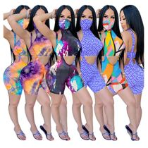 0060520 Wholesale Summer sexy sports suspender short pant and tops tie-dye 2 Pcs Track Suit Outfits Two Piece Set Women Clothing