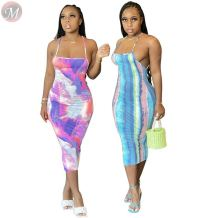 0061102 New Sexy Spaghetti Strap Summer Girls' Dresses Backless Tie Dye Fashional Midi Women Casual Dresses