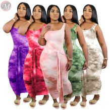0061108 Hot Sale Summer New Style Leisure Dresses Women Square Collar Sleeveless Tie-Dye Knot Strap Ladies Casual Maxi Dresses