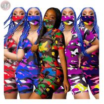 0061112 Wholesale Sexy Zipper Up Short Sleeve Tshirt Pants Two Piece Shorts Set Women Camouflage Sportswear Outfits Track Suit