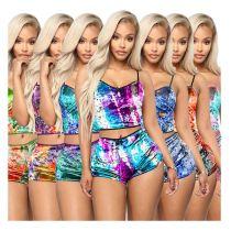 0060422 Good Quality Multi Color Print Tank Top Shorts 2 Piece Set Women Clothing Velvet Summer Casual Slim Short Two Piece Set