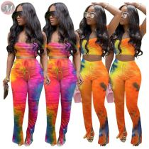 0061612 2020 Summer fashion gradient sexy crop Top And slit Pants Sexy 2 Pcs Track Suit Outfits Two Piece Set Women Clothing