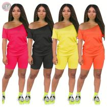 0060621 Casual 2020 Summer solid color off the shoulder Sexy 2 Pcs Track Suit Outfits Two Piece Shorts Set Women Clothing