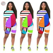 0060802 Summer Sexy New arrival geometric stripe positioning print 2 Pcs Track Suit Outfits Two Piece Shorts Set Women Clothing