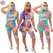 0061601 Newest design 2020 Summer tie-dye letter print Sexy Burn Out 2 Pcs TrackSuit Outfits Two Piece Shorts Set Women Clothing