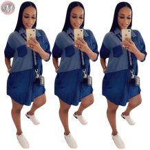 0061615 New arrival 2020 fashion splice Women Girls' Sexy Clothes  Lady Elegant Summer Casual denim Dress